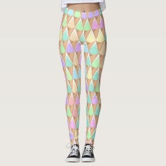 Spring Pastel Ice Cream Print Leggings