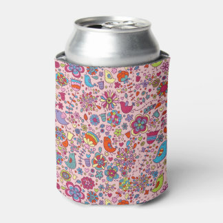 Spring pattern with colorful flowers can cooler