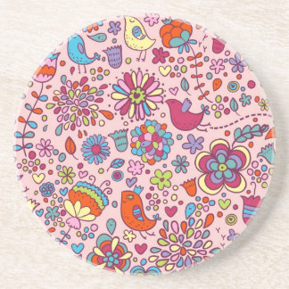 Spring pattern with colorful flowers coaster