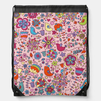 Spring pattern with colorful flowers drawstring bag