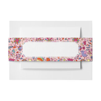 Spring pattern with colorful flowers invitation belly band