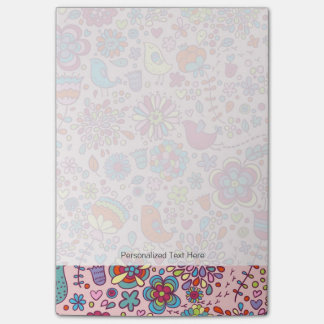 Spring pattern with colorful flowers post-it notes