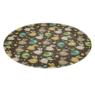 spring pattern with easter eggs,birds cutting board