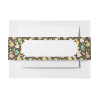 spring pattern with easter eggs,birds invitation belly band