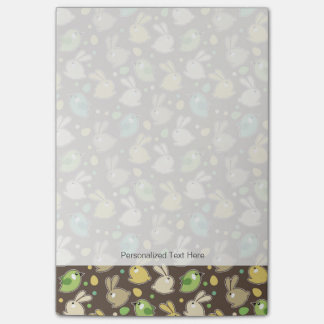 spring pattern with easter eggs,birds post-it notes