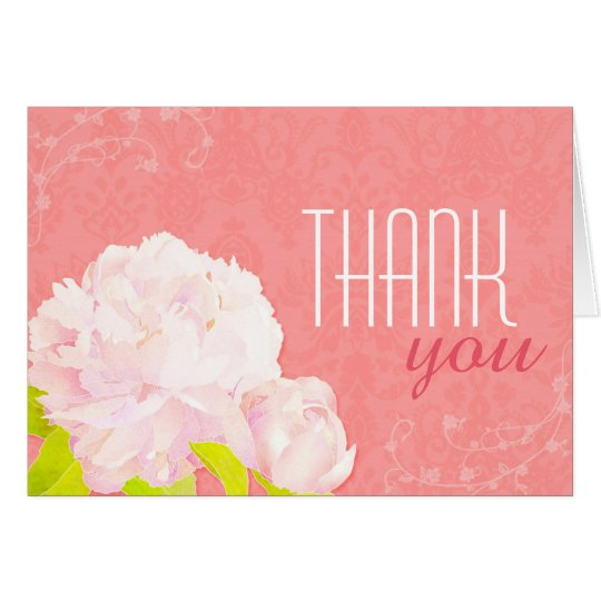 Spring Peony Coral Reef Wedding Thank You Card
