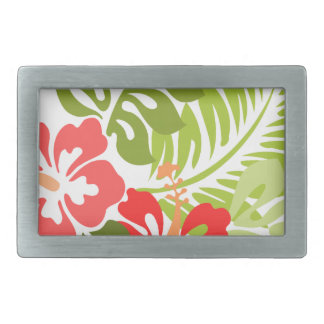 Spring Pink and Red Hibiscus Flowers Hawaii Rectangular Belt Buckles