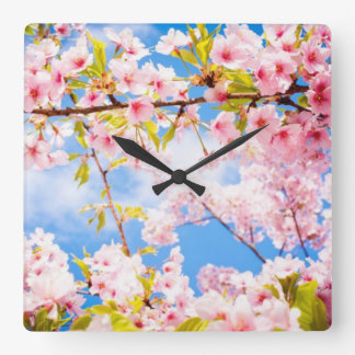 Spring Pink Cherry Blossoms Nature Wall Clock