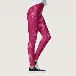 Spring pink floral pattern leggings. leggings