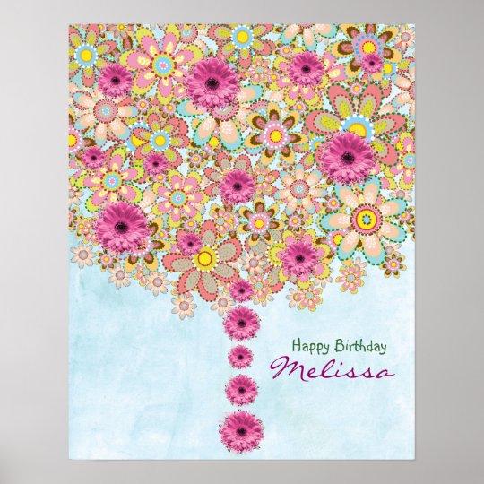 Spring Pink Flowers Tree - birthday poster