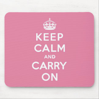 Spring Pink Keep Calm and Carry On Mouse Mat