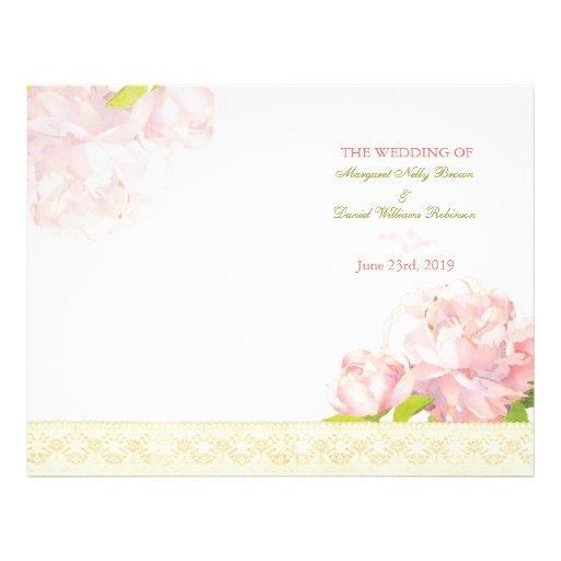 Spring Pink Peony Bi Fold Wedding Programs Personalized Flyer