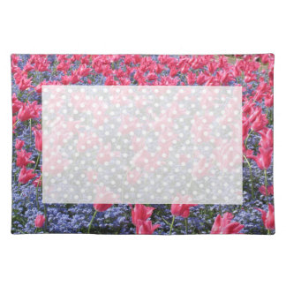 Spring Pink Tulips and purple flowers Placemat