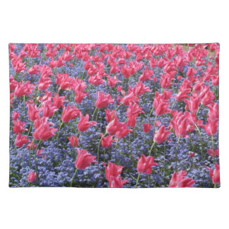 Spring Pink Tulips and purple flowes Placemat