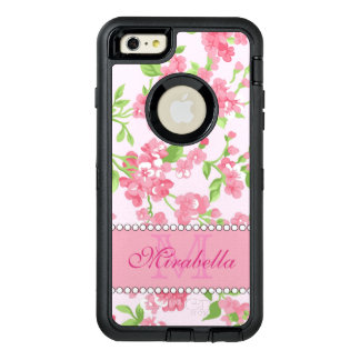 Spring pink watercolor Blossom Branches name OtterBox Defender iPhone Case