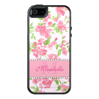 Spring pink watercolor Blossom Branches name OtterBox iPhone 5/5s/SE Case