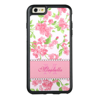 Spring pink watercolor Blossom Branches name OtterBox iPhone 6/6s Plus Case