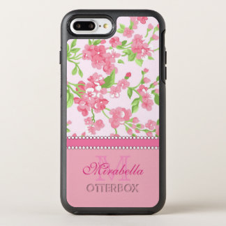 Spring pink watercolor Blossom Branches name OtterBox Symmetry iPhone 8 Plus/7 Plus Case