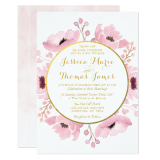 Spring Pinks Watercolor Floral Wedding Collection 13 Cm X 18 Cm Invitation Card