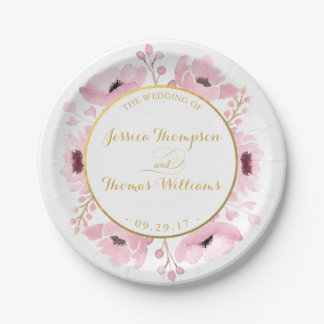 Spring Pinks Watercolor Floral Wedding Collection 7 Inch Paper Plate
