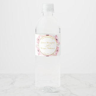 Spring Pinks Watercolor Floral Wedding Collection Water Bottle Label