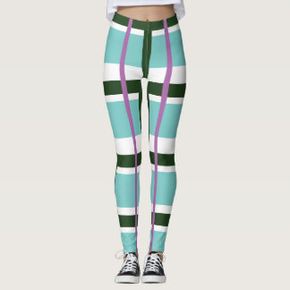 Spring Plaid Heaven with green, lavender and aqua. Leggings