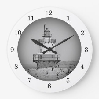 Spring Point Ledge Lighthouse Maine Sketch Wall Cl Clocks