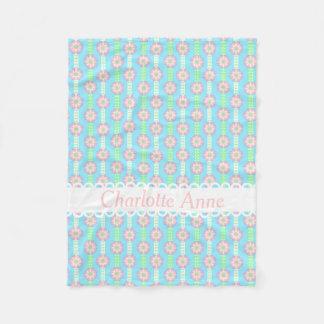 Spring Polka Dot Flower Ribbons Personalized Fleece Blanket