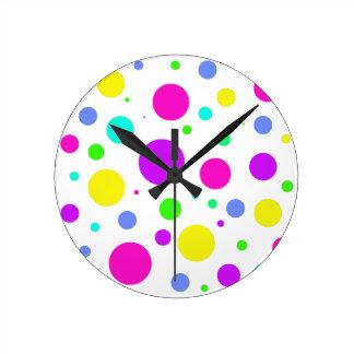 Spring Polka Dots Round Clock