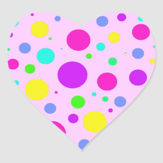 Spring Polka Dots Heart Sticker