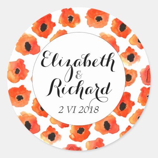 Spring poppy flowers wedding monogram classic round sticker