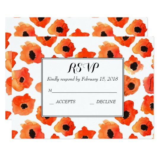 Spring poppy flowers wedding RSVP Card
