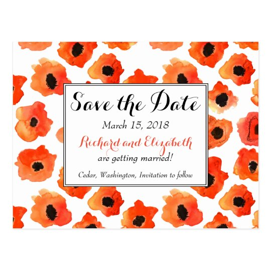 Spring poppy flowers Wedding Save the Date Postcard