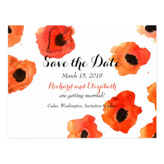 Spring poppy flowers Wedding Save the Date Postcard