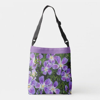 Spring purple flowered cross body tote