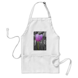 Spring Purple Tulip on Black and White Aprons