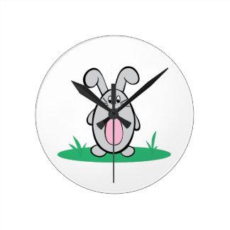 Spring Rabbit Round Wall Clock