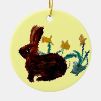Spring Rabbit Daffodil Art Christmas Ornament