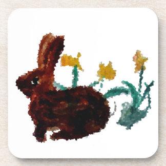 Spring Rabbit Daffodil Art Coaster