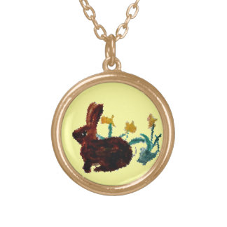 Spring Rabbit Daffodil Art Gold Plated Necklace