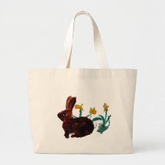 Spring Rabbit Daffodil Art Large Tote Bag