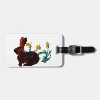 Spring Rabbit Daffodil Art Luggage Tag