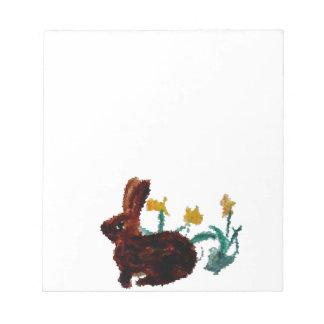 Spring Rabbit Daffodil Art Notepad