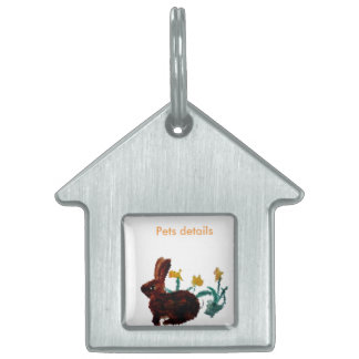Spring Rabbit Daffodil Art Pet Name Tags