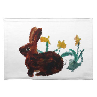 Spring Rabbit Daffodil Art Placemat