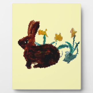 Spring Rabbit Daffodil Art Plaque
