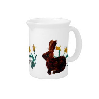 Spring Rabbit Floral Daffodil Art Pitcher