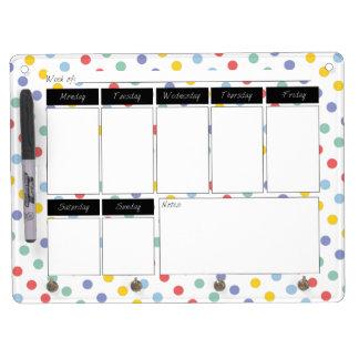 Spring Rainbow Polka Dot Calendar Dry Erase Board