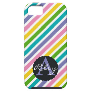 Spring Rainbow Stripes with Flower Monogram Case For The iPhone 5