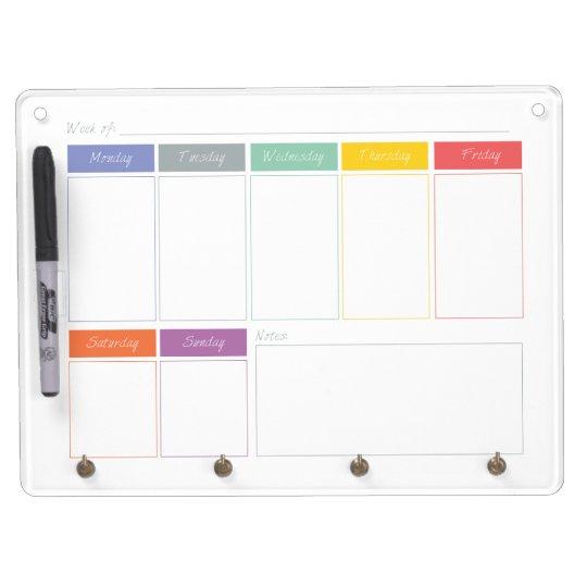 Dry Erase Weekly Calendar : Spring rainbow weekly calendar dry erase board zazzle